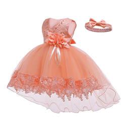 Платье для маленьких девочек, платье на крестины с цветами для маленьких девочек 1 года, Vestido, кружевное платье-пачка со шлейфом для