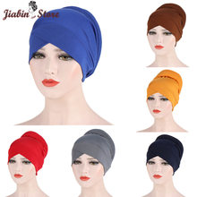 Solid color forehead cross Inner hijabs cap for women wrap head scarf turban caps femme musulman ready to wear hijab bonnet(China)