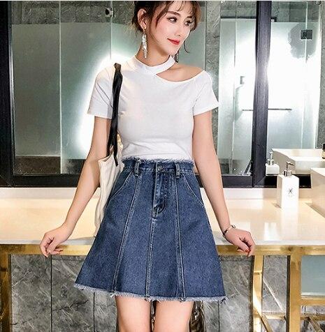 Wysokiej talii linii dżinsy spódnice kobiet 2020 lato plus size kobiet spódnice słodkie dorywczo pomponem niebieski mini spódniczki dżinsowe zamek fw886