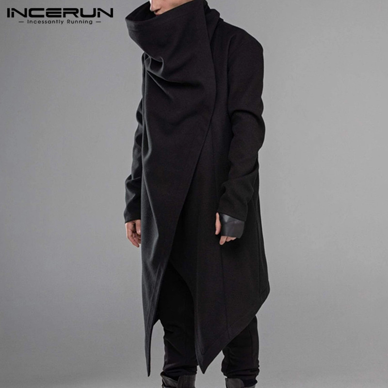 INCERUN Men Cloak Coats Turtleneck Solid Long Sleeve Streetwear Casual Men Cape Outerwear Punk Style Irregular Hem Jackets S-5XL
