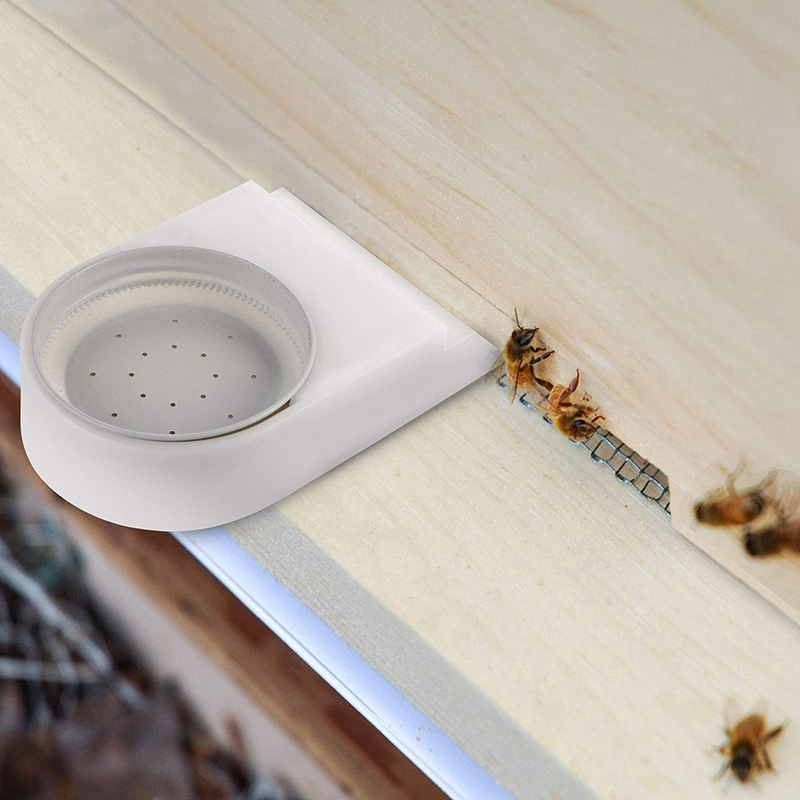 Entrance and Bee Feeder for Bee Hives Includes Lids with Holes 2 Pack Fits