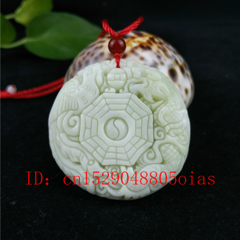 Chinese Natural White Jade Dragon Phoenix Pendant Necklace Fashion Charm Jewellery Accessories Carved Amulet Gifts For Women Men