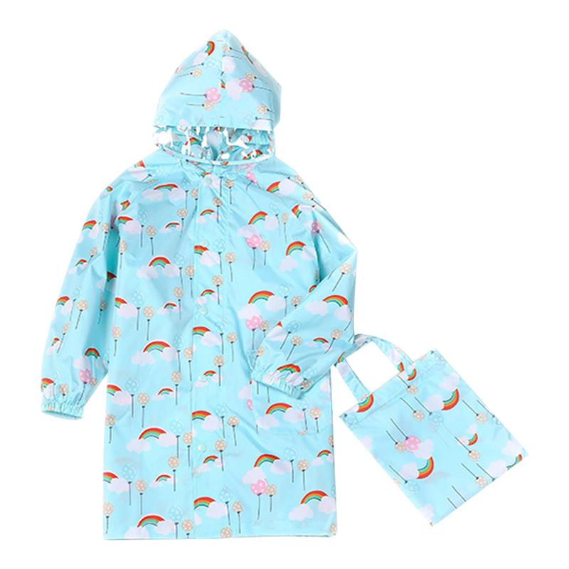 Cartoon Rain Jacket Reusable Kids Raincoat Waterproof Raincoat Elastic Sleeve Packable Rainwear With Schoolbag Cover And Hood