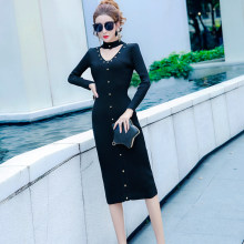 COIGARSAM Fashion Knitting Women Long dress New Sexy Rivet V-Neck Dresses Green Navy Wine Red Black Light Blue Apricot 767(China)