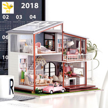 DIY-KIT Doll House Miniature DIY Dollhouse With Furnitures Wooden House Cherry Blossom Toys For Children Birthday Gift A080