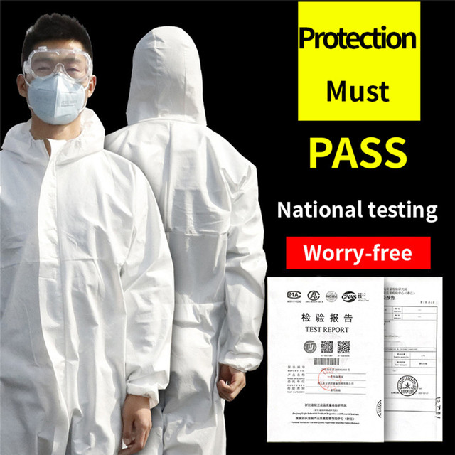 Disposable  Virus Isolation Clothing Hazmat PPE Suit Anti-Virus Protective Clothing Safety Disposable Washable Coverall 3