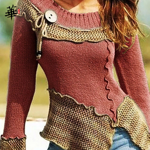 Image 2 - Vintage Sweater Women Knitted Long Sleeve Sweaters for women Tops Fall Winter Clothes Women 2020 Pullover Jumper Woman Sweaters