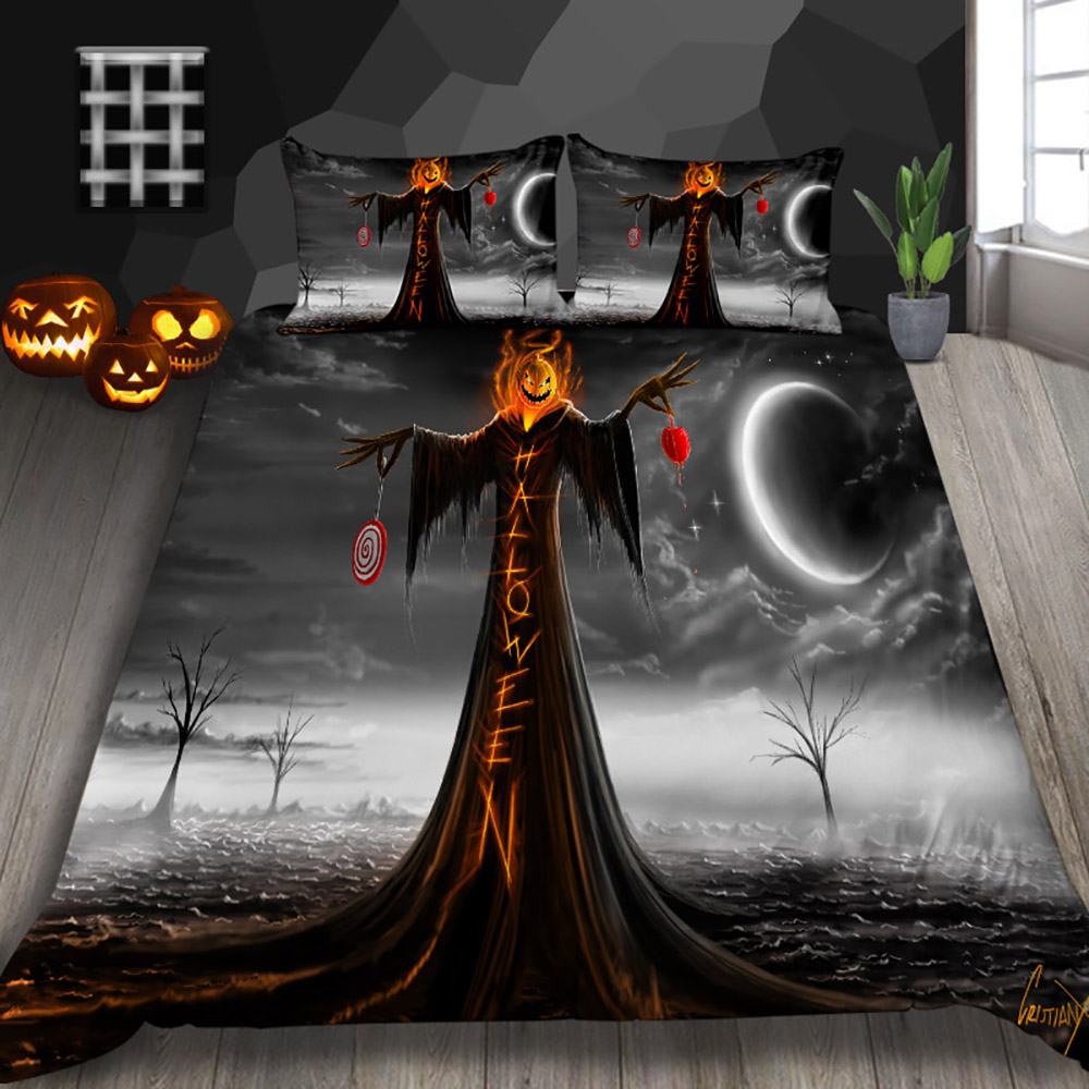 Thumbedding Pumpkin Monster Bedding Set Halloween Decoration For Home Duvet Cover King Queen Full Twin Single Double Bed Set