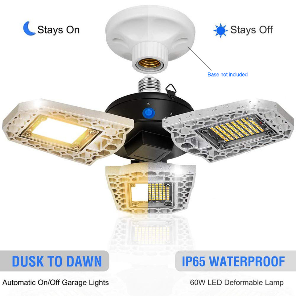 60W E27//26 Deformable LED Garage Light Super Bright Shop Ceiling Lights Bulb USA