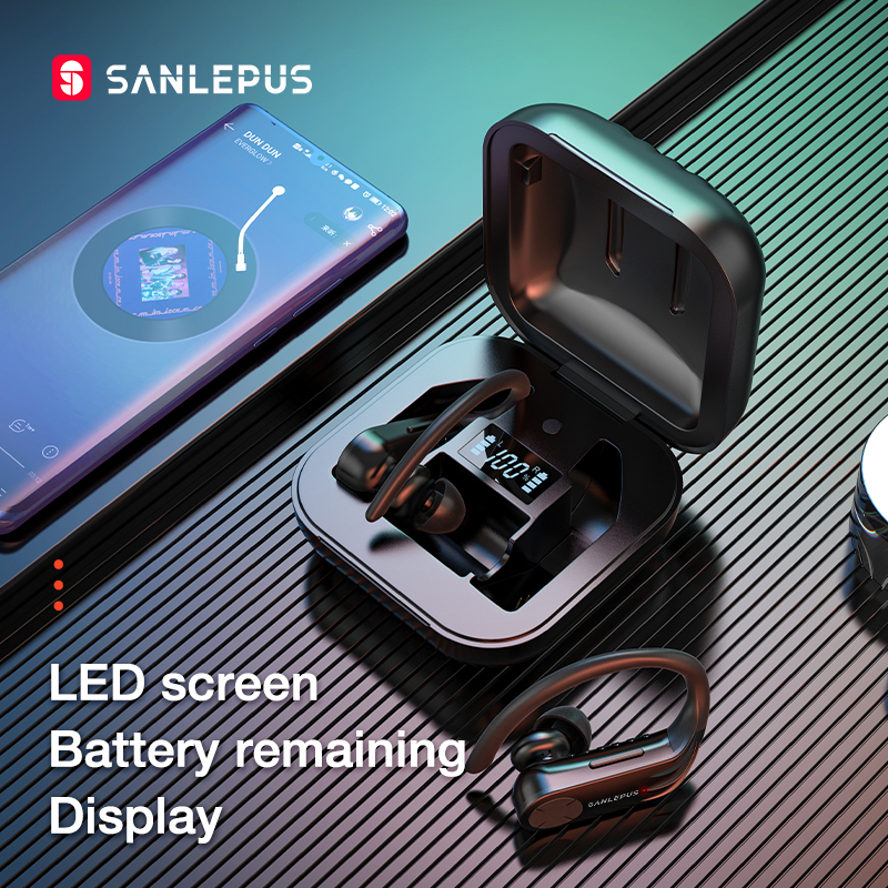 cheapest SANLEPUS Bluetooth Earphone TWS 5 0 Led Display Wireless Earbuds Stereo Headphones for Xiaomi in Ear Phone Gaming Sport Headset