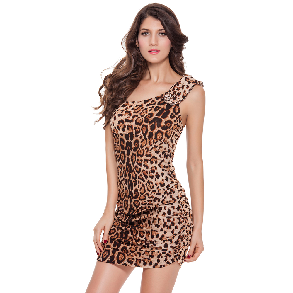 Sexy Nightclub Mini Dress One Shoulder Clothes Bodycon Costume Fashion Leopard Print Dresses Party Outfit Backless Clubwear