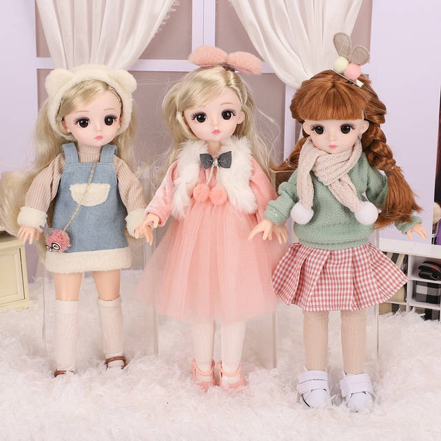 30cm 1//6 BJD Doll Princess Girls with Eyes Wig Full Set Clothes Lovely Kids Gift