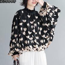 DIMANAF Autumn Oversize Women Blouse Shirts Elegant Lady Tops Tunic High Street Fashion Floral Loose Batwing Sleeve Clothing