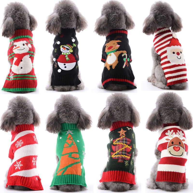 Christmas Pet Cat Dog Sweater 15 styles Puppy Knit Coat Reindeer Snowman Snow Winter Warm Sweaters for Small Middle Dogs XXS-XXL