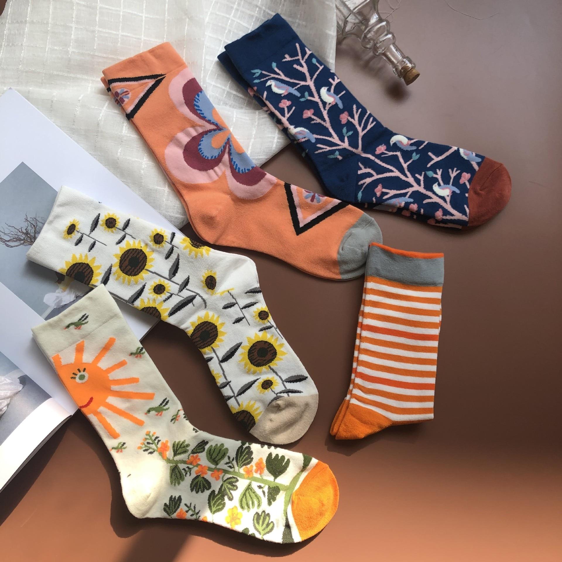 Vintage Sunflower Funny Plant Socks Women Japanese Harajuku Creative Art Socks High Quality Cotton Jacquard Socks Sox Calcetines