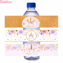 Staraise 24pcs Paper Unicorn Bottle Stickers Party Supplies Birthday Decor Sticker Unicornio Favors