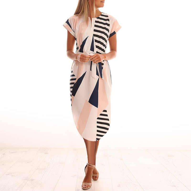 2020 חם נשים Midi המפלגה שמלות גיאומטרי הדפסת קיץ Boho חוף שמלת Loose עטלף שרוול שמלת Vestidos בתוספת גודל WL84