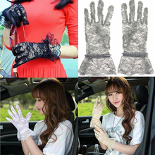 Лето солнцезащитный крем перчатки дамы девушки сексуальные кружева полым из перчатки защиты перчатки ажурные Солнце вождения полный палец УФ-доказательство перчатки