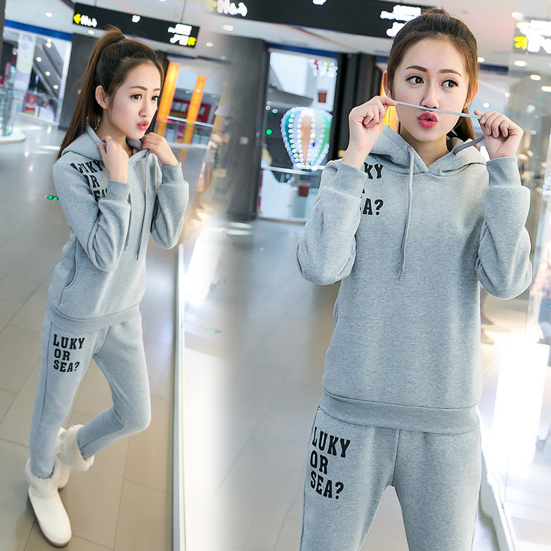 2016 New Style Sports WOMEN'S Suit Winter Thick Plus Velvet Large Size Slimming Warm Hoodie Women's Two-Piece Set Casual Wear Fa