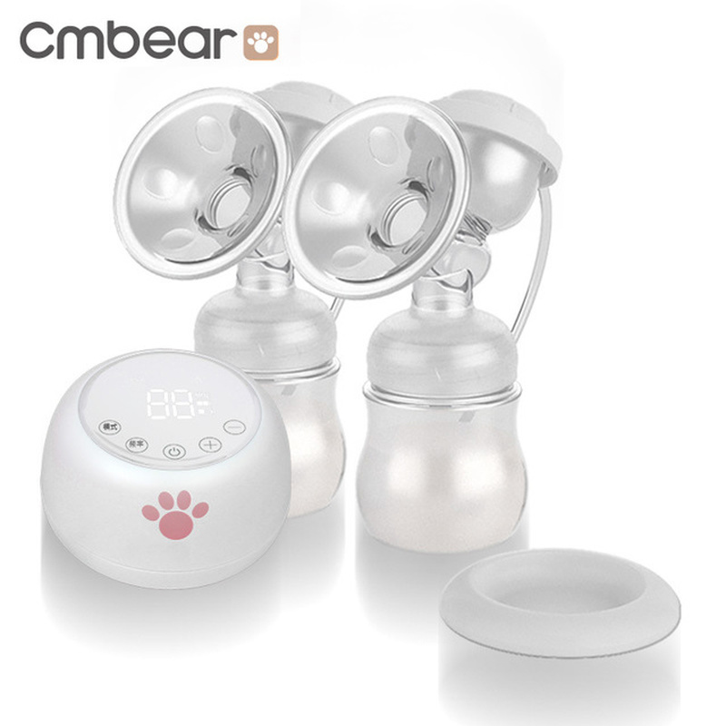 Cmbear Electric Breast Pump Powerful Suction Baby Breast Feeding USB Breast Pumps With Two Bottles Breast Milk Accessories