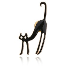 Gariton Real Shooting New Hot Sale Fashion 3 Colors Cute Cat Animal Brooches For Women Collar Pin Metal Korean Jewelry