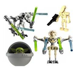 Star wars geral robô grievous mandalorian bebê yodas modelo figura blocos construção tijolos brinquedos para crianças