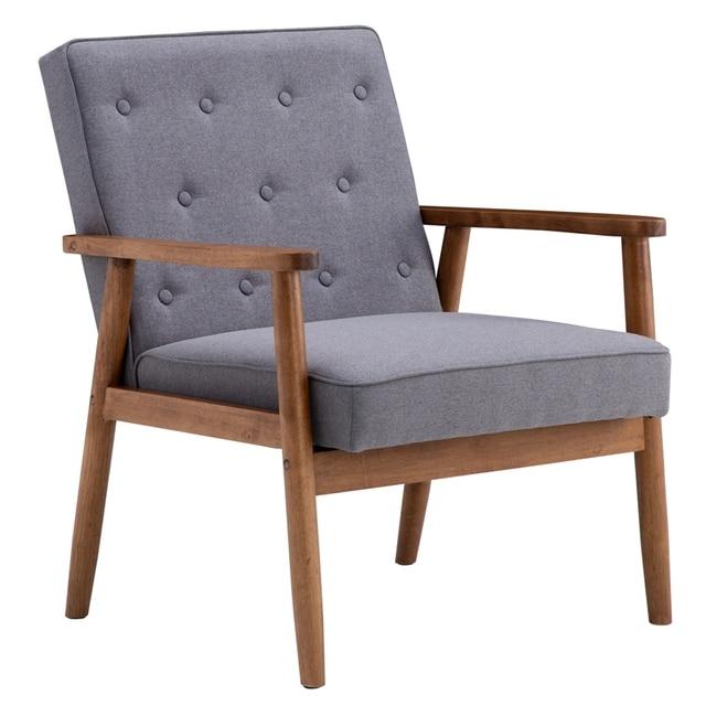 (75 x 69 x 84)cm Retro Modern Wooden Single Chair  Grey Fabric US Warehouse In Stock 1
