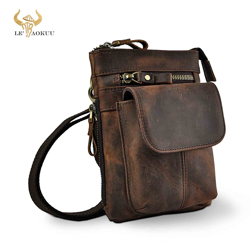 Original de couro masculino design casual mini ombro mensageiro crossbody saco cinto moda cintura bolsa de viagem pequena bolsa masculina 611-18