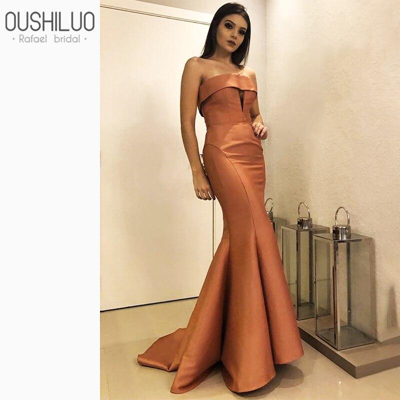 Formel cuivre sirène robe de soirée longue 2020 Simple trou de serrure cou bretelles robes de soirée robe queue de poisson balayage Train avec volants