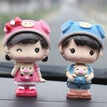 1 Pairs of Creative Shaking Head Car Ornament Cute Car Interior Accessories Couple Doll Car Interior Decoration Dashboard Toys