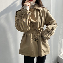 Women Jacket Coat Outwear Spring Lace-Up Khaki Slim Casaco Waist-Rabbit-Fur Inner
