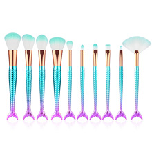 11 Pcs Mermaid Makeup Brush Kit Eyeliner Brushes Colorful Golden Fish Tail Eye Shadow Foundation Set Tool