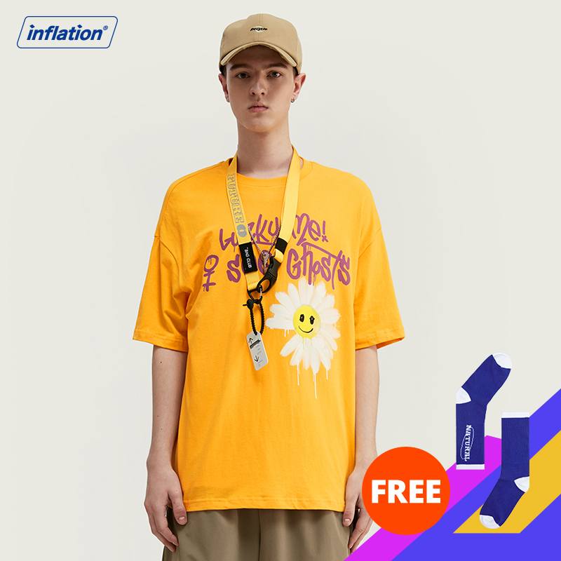 INFLATION 2020 NEW Harajuku Men's T-shirt 100% Cotton T-shirt Letter Printing Men Summer T-shirt Casual Loose Fashion Tee1139S20