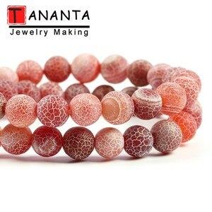 4-12mm geada natural rachado ágata vermelha pedra contas redondas para fazer jóias diy pulseira colar fosco onyx 15 polegada