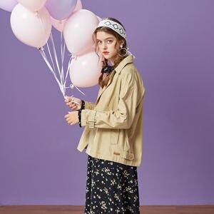 Image 4 - Metersbonwe الموضة قصيرة خندق الإناث سترة واقية معطف المرأة الخريف عارضة خندق مكتب معطف للسيدات الإناث أبلى