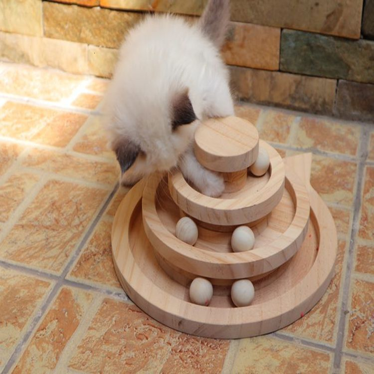 Three Levels Wooden Tower Tracks Cat Interactive Ball Toys