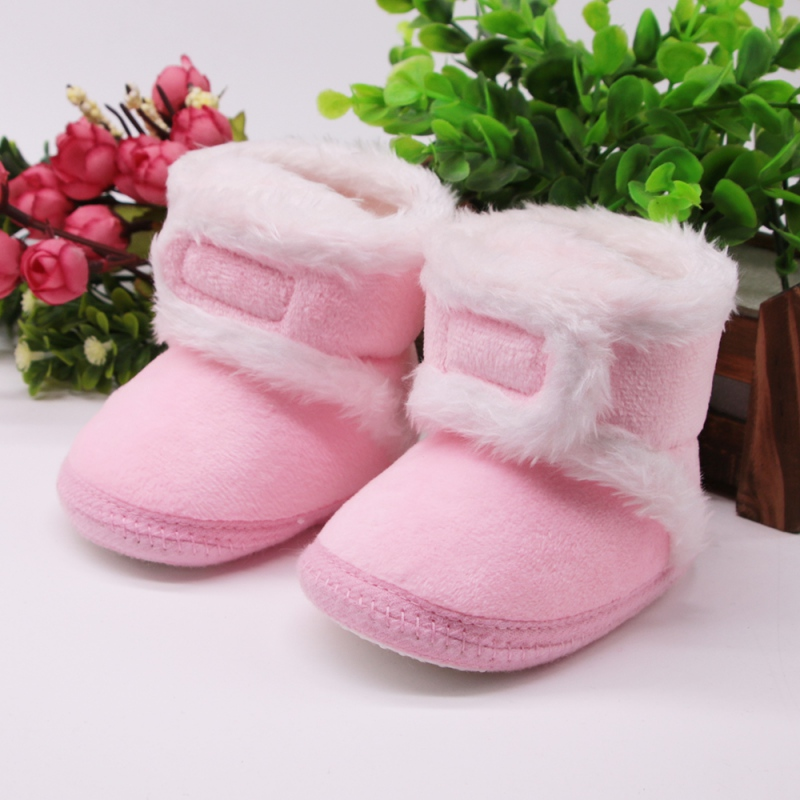 Warm Fleece Baby Girl Snow Boots For Baby Boy Girl Anti-silp Prewalker Booties Baby Shoes 0-18 Months