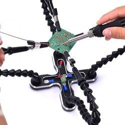 Stacja lutownicza z 4 szt. Elastyczne ramiona uchwyt do lutownicy trzecie pomocne narzędzie ręczne naprawa spawalnicza Pcb narzędzie spawalnicze w Stacje lutownicze od Narzędzia na