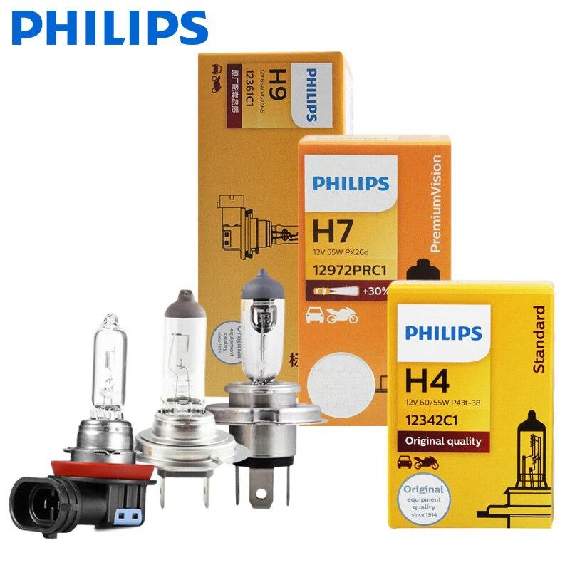 1X Philips H4 H7 H11 Vision оригинальные автомобильные фары H1 H3 H8 H9 9005 9006 HB3 HB4 противотуманные фонари подходят для большинства моделей