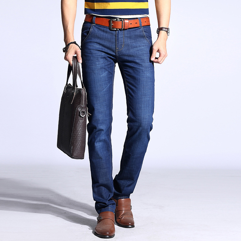 2019 New Style Men Business Casual Elasticity Jeans Youth Top Grade Medium Waist Cowboy MEN'S Trousers