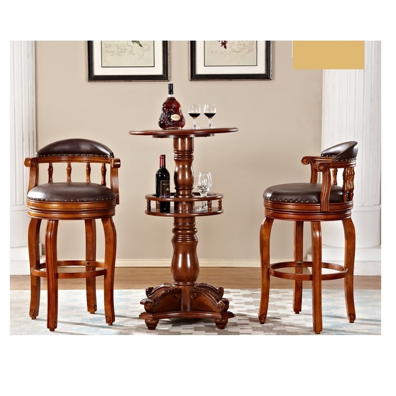 Wood Home Small Bar Furniture Table And Leather Bar Chairs HOT SELL WA709
