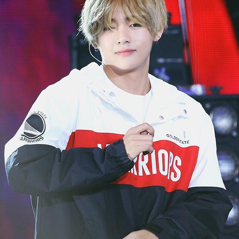Kim Tae Hyung V Black White Color Matching Hoodies Trench Coat Women Men Long Sleeve Sweatshirts Kpop Hooded Tops Clothes