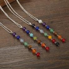 7 chakra gema pedra contas pingente colar feminino yoga reiki cura balanceamento maxi chakra colares femme jóias