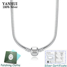 Have Certificate! 100% Real 925 Solid Silver 3mm Snake Bone Charms Necklace Original Pan Chain Necklace for Women 45/50/55/60CM(China)