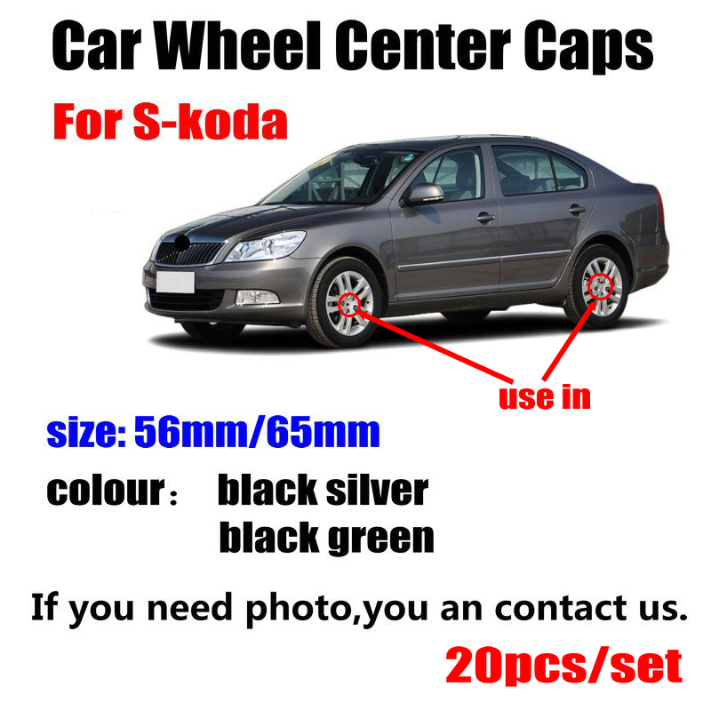 20pcs/lot 56mm 65MM Black silver <font><b>Car</b></font> <font><b>Wheel</b></font> <font><b>Hub</b></font> <font><b>Caps</b></font> <font><b>Center</b></font> Cover For <font><b>Skoda</b></font> Octavia Fabia Rapid Yeti Superb Octavia A 5 A 7 2 image