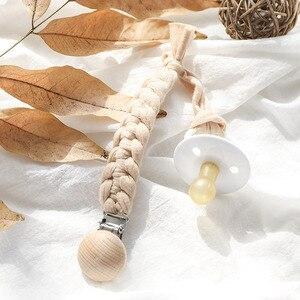 Image 5 - ベビーおしゃぶりクリップチェーン綿 & 木製おしゃぶりクリップ 1pc手作り乳首ホルダーベビーシャワーのギフト安全で環境に配慮ダミークリップ