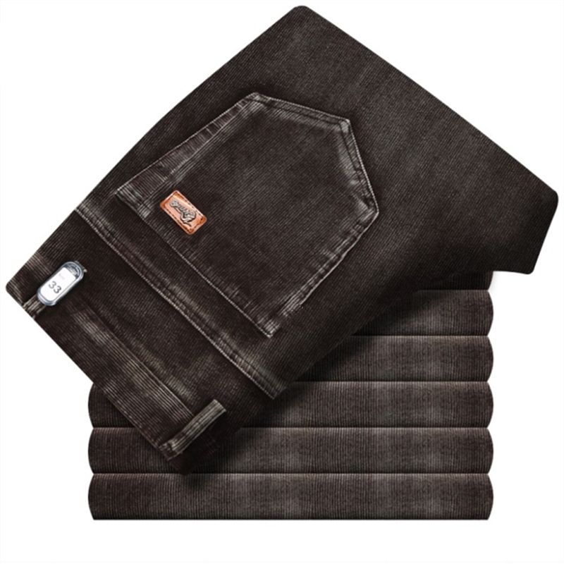 ICPANS Winter Pants Men Thick Warm Corduroy Trousers Loose Straight Stretch 2019 Winter Autumn High Waist Casual Pants Big Size