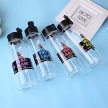 Hot sale borosilicate glass single layer sports water bottle creative cartoon cup High temperature resistance