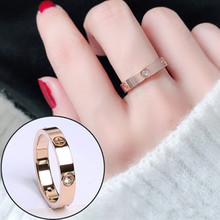 Love Ring Stainless Steel Jewelry Woman Accessories Cubic Zirconia Luxury Designer Engagement Promise Wedding Couple Rings