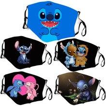 Lilo Stitch – masque de Cosplay en coton pour enfants et adultes, protection chaude, points mignons, pour fête, lavable, filtre ajustable